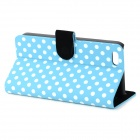 Stylish Polka Dot Pattern Flip-open PU Case w/ Holder + Card Slot for Iphone 5C - Blue + White