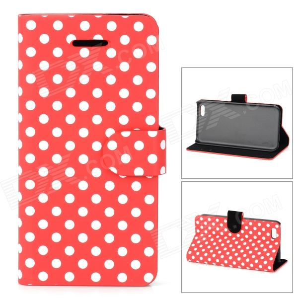 купить Stylish Polka Dot Pattern Flip-open PU Case w/ Holder + Card Slot for Iphone 5C - Red + White недорого