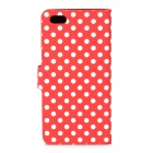 Stylish Polka Dot Pattern Flip-open PU Case w/ Holder + Card Slot for Iphone 5C - Red + White