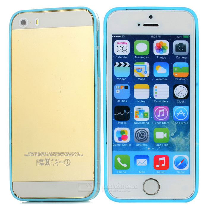 Ultra-Slim Stylish PC + TPU Frame Bumper Case for Iphone 5 - Blue + Transparent