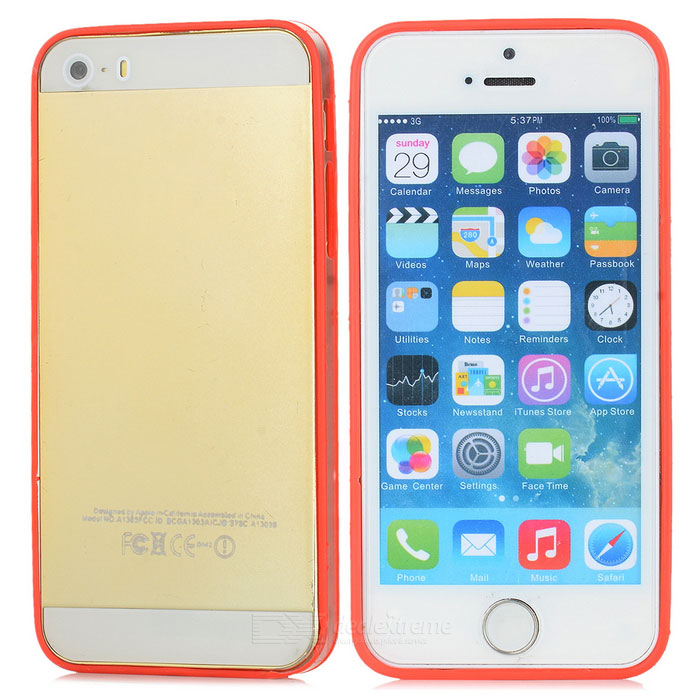 Ultra-Slim Stylish PC + TPU Frame Bumper Case for Iphone 5 - Red + Transparent