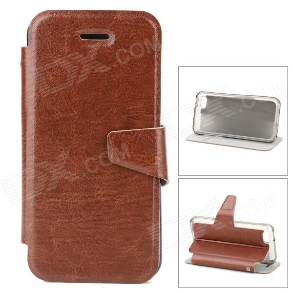 купить Stylish Flip-open PU Leather Case w/ Holder + Card Slot for Iphone 5C - Brown недорого