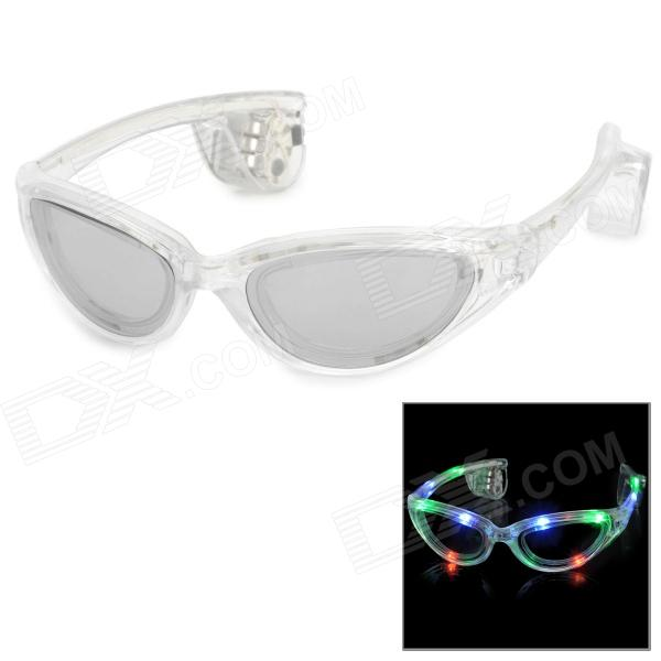 LED Flashing Colorful Light Glasses for Club Party - Transparent White + Grey (3 x AG13)
