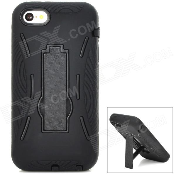 Cool Protective Plastic + Silicone Back Case Set w/ Holder for Iphone 5S - Black full protective plastic hard case w silicone hard back cover for iphone 5 transparent white