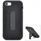 Cool Protective Plastic + Silicone Back Case Set w/ Holder for Iphone 5S - Black
