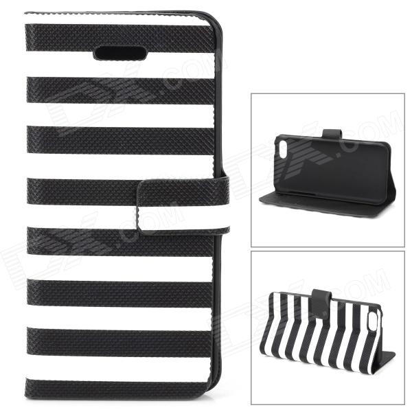 Stylish Strip Pattern Flip-open PU Leather Case w/ Holder + Card Slot for Iphone 5C - Black + White protective flip open pc pu leather case w holder card slot for iphone 5 5s black
