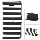 Stylish Strip Pattern Flip-open PU Leather Case w/ Holder + Card Slot for Iphone 5C - Black + White