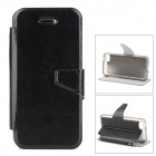 Stylish Flip-open PU Leather Case w/ Holder + Card Slot for iPhone 5c - Black