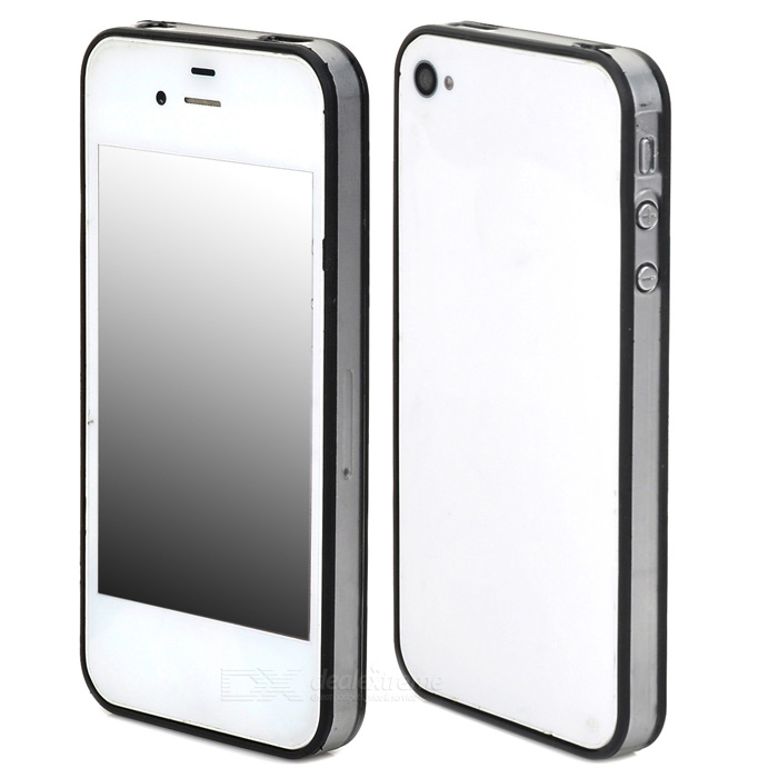Ultrathin Protective PC + TPU Bumper Frame for Iphone 4 / 4S - Black + Transparent
