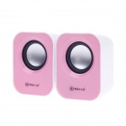SunRose YJ-780 USB Powered 2-CH Speakers for Desktop Computer - Blue + Pink (2 PCS)