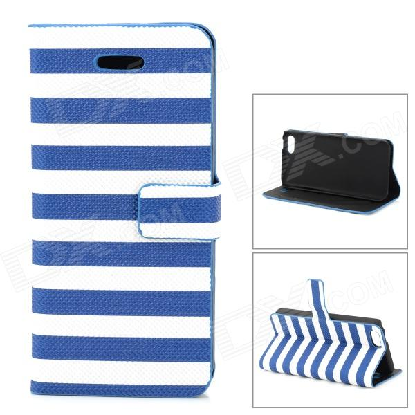 купить Stylish Strip Pattern Flip-open PU Leather Case w/ Holder + Card Slot for Iphone 5C - Blue + White недорого