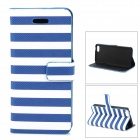Stylish Strip Pattern Flip-open PU Leather Case w/ Holder + Card Slot for Iphone 5C - Blue + White