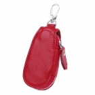 S-8321 Portable PU Leather Zipper Car Key Holder Case Bag - Red