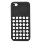 Protective Hollow-out Plastic Silicone Case for Iphone 5C - Black