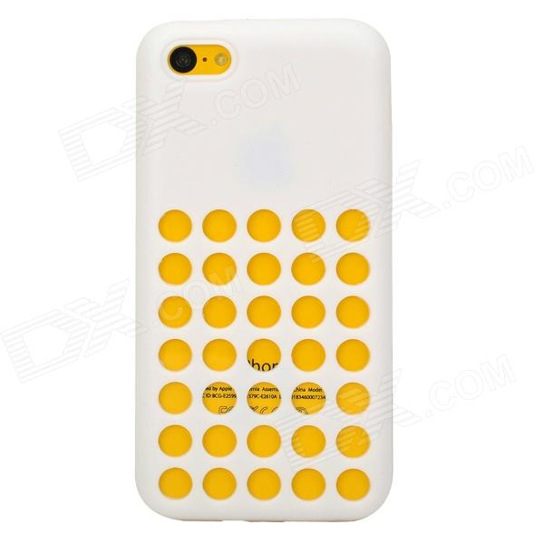 Protective Hollow-out Plastic Silicone Case for Iphone 5C - White