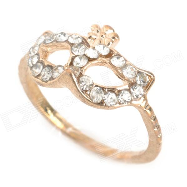 SHIYING Bohemian Rhinestone Mask Style Decoration Ring - Golden