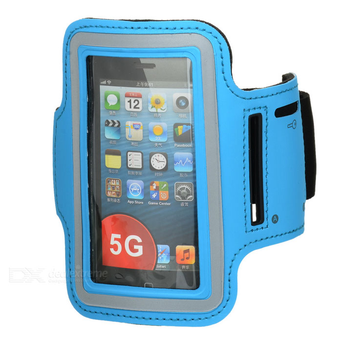 Stylish Handy Sports Cotton-spandex + Diving Fabric Arm Bag for Iphone 5 / 5s - Blue