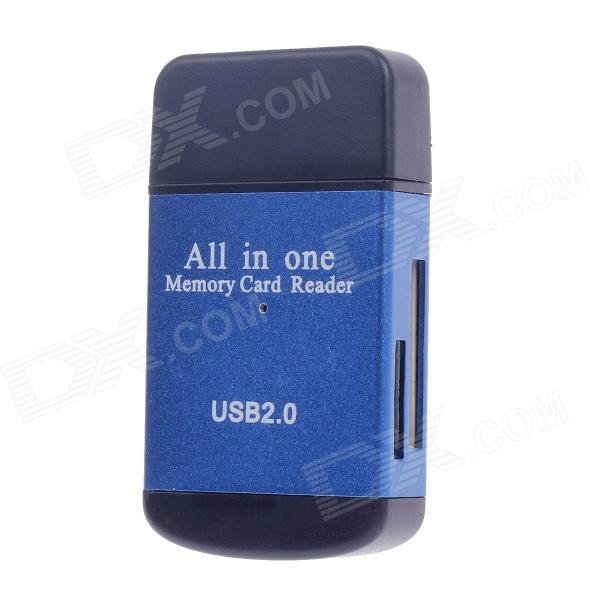 Portable All-in-1 USB 2.0 Memory Card Reader - Blue + Black (Max. 32GB)