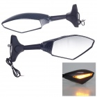 "QC-M-085 Universal 1/4"" Motorcycle Rearview Mirror w/ 18-LED Yellow Light - Black + Grey (Pair)"