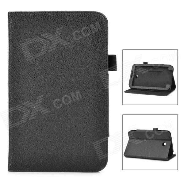 Lychee Grain Style Protective PU Leather Case for Samsung Galaxy Tab 3 T210 - Black