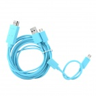 Micro USB MHL to HDMI Male HD Video Adapter Cable w/ Micro USB 5Pin to 11Pin Cable - Blue