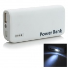 6000mAh Mobile Power Bank w/ LED Flashlight - White + Grey