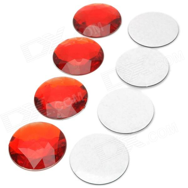 AC-088 Stylish Reflective Plastic DIY Sticker for Car Wheel Hub - Red (4 PCS) 82r 801 replacement plastic rubber wheel for 1 8 scale off road cars black red 4 pcs