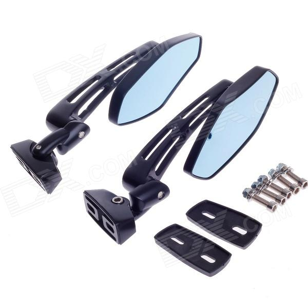 QC-M-062 1/4 Rhombus Style Motorcycle Anti-Glare Back Rearview Mirror - Black + Light Blue (Pair) qc m prince universal 0 8mm motorcycle rearview mirror silver black pair