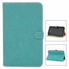 Stylish Protective PU Leather Case for Samsung Tab 3 T210 / P3200 - Blue Green