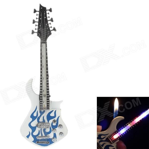 Fashionable Guitar Style Gasoline Lighter w/ LED Light - White + Blue (3 x LR626) rccskj 3103 fuel nozzle for gasoline methanol aircraft silver blue