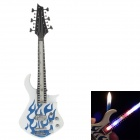 Fashionable Guitar Style Gasoline Lighter w/ LED Light - White + Blue (3 x LR626)