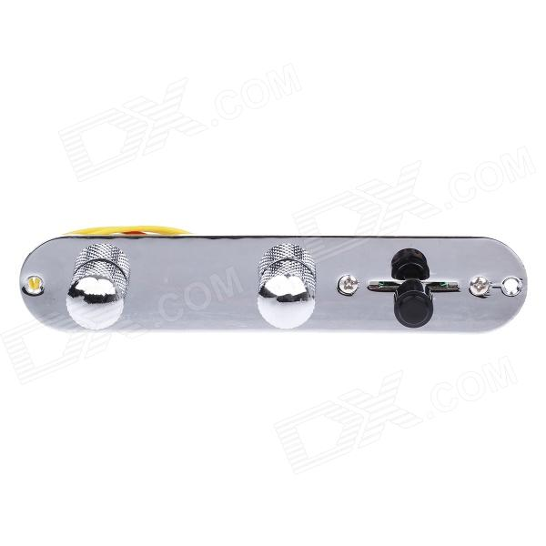 William Control Plate With Wiring Harness and Knobs for Electric Guitars - Silver + Black lp guitars black 1973 custom guitar yellow binding ebony fretboard end binded one piece neck mahogany free shipping