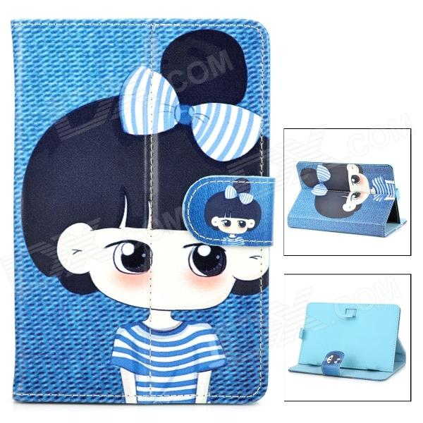 Lovely Girl w/ Bowknot Style Protective PU Leather Case for 7 Tabelt PCs - Blue + Black