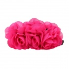 eQute XOTW02C4 Silk Fabric Banana Headdress Hairpin Crossed Vertical Clip - Deep Pink + Black