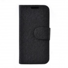 CHEERLINK Silk Pattern Protective PU Leather Case Stand for Samsung Galaxy S4 Mini i9190 - Black