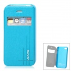 USAMS Stylish Flip-open PU + PC Case w/ CID Window for Iphone 4 / 4S - Light Blue