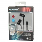 AWEI TE800i In-Ear Earphones w/ Microphone for Samsung - Black (120cm-Cable / 3.5mm Plug)