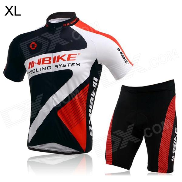 INBIKE Short Sleeves Cycling Jersey + Shorts Set for Men - Red + White + Black (Size XL) inbike bicycle cycling short sleeves jersey bib shorts set white black size xxl