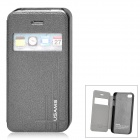USAMS Stylish Flip-open PU + PC Case w/ CID Window for Iphone 4 / 4S - Deep Gray