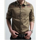 Fashionable Cotton Men's Slim Shirt - Khaki (Size XXL)