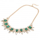 SHIYING A05316 Fashionable Women's Zinc Alloy Crystal Pendant Necklace - Golden + Green