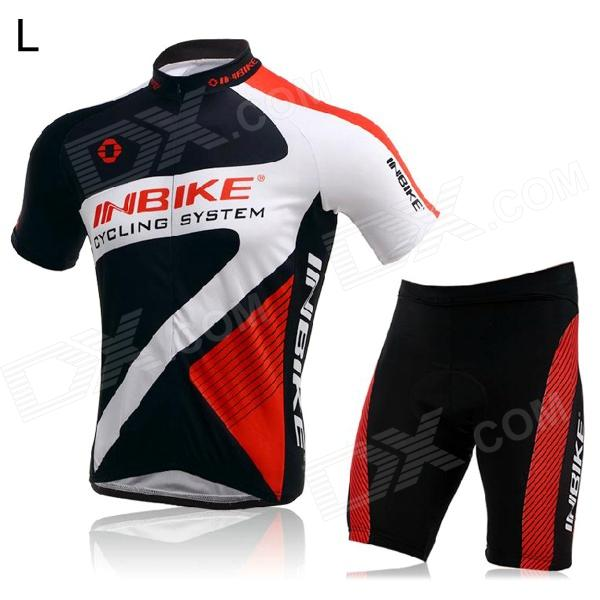 INBIKE Short Sleeves Cycling Jersey + Shorts Set for Men - Black + White + Red (Size L) arsuxeo ar608s quick drying cycling polyester jersey for men fluorescent green black l