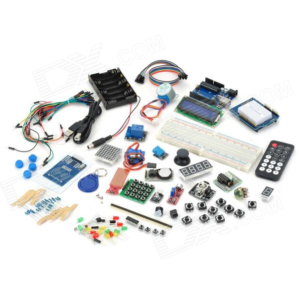 RFID Stepper Motor Learning kit for Arduino - MulticoloredKits<br>BrandN/A ModelTJ01 Quantity1 ColorMulticolored MaterialHeavy gold plate FeaturesThis learning kit added FRID module and RFID key chain, white card,DS1302 clock module, sound detection module, temperature humidity module, water level detection module, 4 x 4 key module and 8 x 8 dot matrix module for your experiment .Get rid of the boring theory knowledge obtain the single-chip microcomputer system development ability in the play SpecificationSummary MicrocontrollerATmega328 Operating Voltage5V Input Voltage (recommended)7-12V Input Voltage (limits) 6-20V Digital I/O Pins14 (of which 6 provide PWM output) Analog Input Pins6 DC Current per I/O Pin40 mA DC Current for 3.3V Pin50 mA Flash Memory32 KB (ATmega328) of which 0.5 KB used by bootloader SRAM2 KB (ATmega328) EEPROM1 KB (ATmega328) Clock Speed16MHz English Manual/Spechttp://arduino.cc/en/Main/Software Packing List1 x UNO R3 board1 x Expansion board5 x Green LED 5 x Yellow LED 5 x Red LED 10 x 1k resistor 10 x 10k resistor 10 x 220R resistor 1 x 74HC595N chips 1 x Piezo buzzer1 x Piezo sounders1 x 1 digital tube1 x 4 digital tube10 x Push button switches3 x Optical resistor1 x Adjustable resistor1 x RFID module1 x RFID keychain and white card1 x Temperature and humidity module4 x 4 keypad module1 x LM35 sensor module1 x Infrared receiver1 x Flame sensor2 x Rocker switch1 x Remote control1 x 1602/11C module1 x PS2 Joystick1 x Step motor1 x Step motor drive board1 x 9g Sero(25cm)1 x RGB module1 x Relay module30 x Bread board cable (15c,)10 x Dupont line (30cm)1 x 2.54 Pin head1 x USB cable (57cm)1 x Case for 6 x AA battery (30cm)<br>