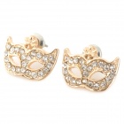 Masquerade Mask Style  Zinc Alloy Ear Studs - Golden (Pair)