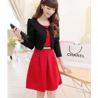 YLY-NRJ-A03-8037# Elegant Women's Slim Dress + Coat Set - Black + Red (Size L)