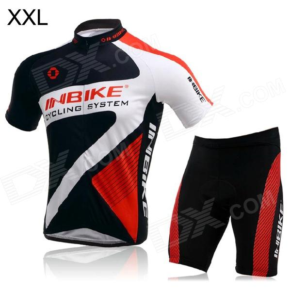 INBIKE Short Sleeves Cycling Jersey + Shorts Set for Men - Black + White + Red (Size XXL) rusuoo k01007 bicycle cycling jersey bib shorts set white black size xxl 180 185cm