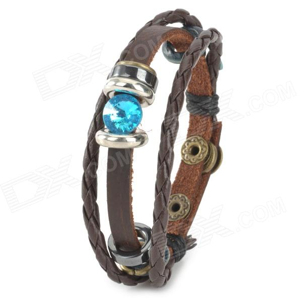 SHIYING C04304 Stylish Couple's PU Leather Bracelet - Brown + Blue brown eagle head bracelet
