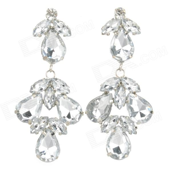 SHIYING D01302 Stylish Elegant Rhinestone + Zinc Alloy Earrings - White (Pair) stylish shining rhinestone zinc alloy earrings golden