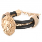 SHIYING C02227 Head of Lion Style Fashionable Zinc Alloy + PU Bracelet - Black + Golden