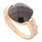 SHIYING C04136 Stylish Elegant Women's Crystal Zinc Alloy Ring - Golden + Black
